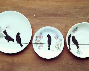 Set Birds on Wire Vintage dessert Plates