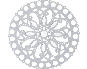 Set of 10 prints round steel flower SC73787 50mm silver heart charm
