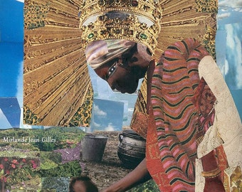 Everyday Mother As Her Majesty the Queen. Mother's Day  Collage. African American. Mother and Child. PRINT