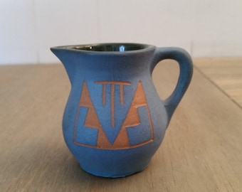 Vintage Blue Native American Sioux Pottery Small Pitcher From South Dakota Signed M Black Tail Deer SP-RC SD