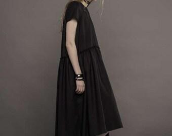 Royal blue dress / Dark blue dress / Drop waist dress / Blue wool dress / Handmade dress / Designer dress