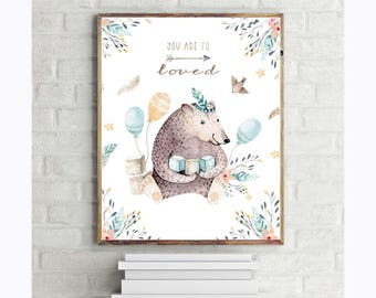 You Are So Loved, Boho Nursery Digital Printable - Watercolor - 8x10  11x14 Childrens Wall Art Print - Instant Download