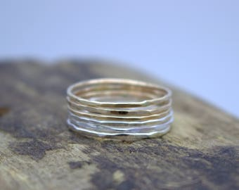 Sterling gold stacking rings - Silver Gold Midi Rings - Sterling Silver - Gold Filled - Thin Band