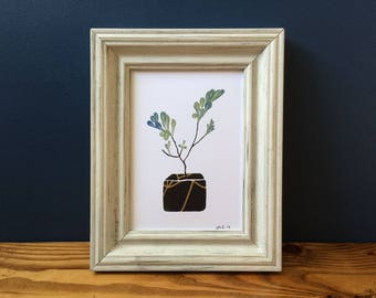 """Kintsugi Plant No. 8 - Beauty in the Broken Things - 5x7"""" Print, Gold Ink"""