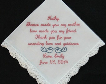 Embroidered Wedding Handkerchief for Stepmother of the Bride