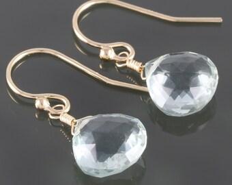 Mint Green Quartz Earrings. Gold Filled Ear Wires. Small Drop Earrings. f16e117