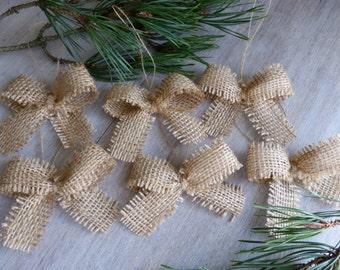 3 inches - 6 small burlap bows -Home Decor -
