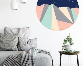 The Remarkable Mountain Range Night Sky, Queenstown, New Zealand. Geometric Walldot art decal (15cm x 15cm or 40cm x 40cm)