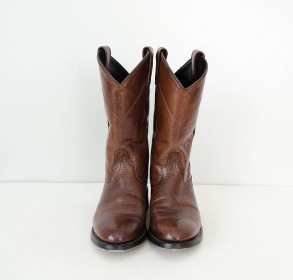 5 leather boots 5 Old flat boots dark vintage cowboy boots size West brown Iqw5xwP7p