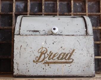 Vintage White Bread Box, Chippy White Kreamer Roll Top Bread Box, Farmhouse Kitchen