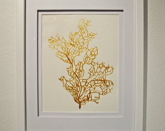 """Gold Coral Painting 8.5"""" x 11"""" on Acid Free Paper Hand-Painted with 24k Gold Acrylic Paint V3"""
