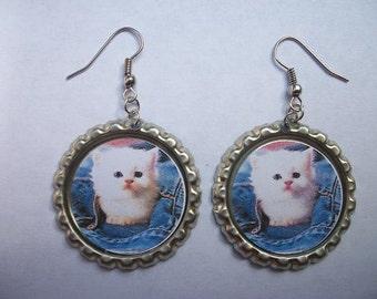 BOTTLE CAP EARRINGS - Kittens