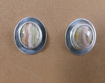 Mexican Lace Agate Earrings, Agate Earrings, Sterling Silver Earrings