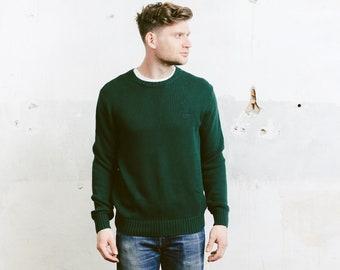 Green Crew Neck Sweater . Mens 90s Vintage Plain Sweater Pullover Boyfriend Sweater Cozy Cotton Sweater . size Large
