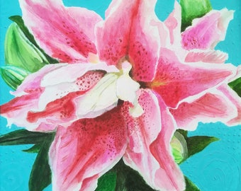 Contemporary original painting acrylic canvas PINK LILY flower