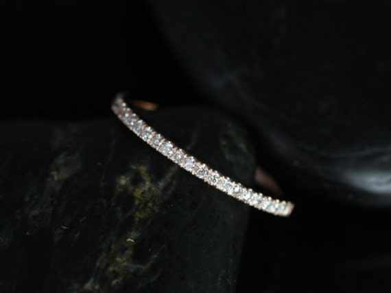 Rosados Box 14kt Matching Band to Tabitha 7x5, 8x5, 9x6mm/Lisette/Carrie/Sasha/8 or 9mm Kubian Diamonds HALFWAY Eternity Band