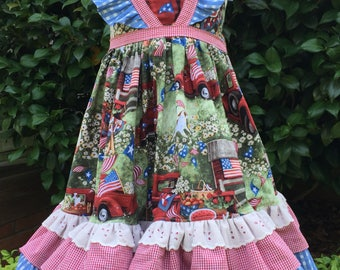 Back To School - Toddler Ruffle Dress - Girls dress with Flutter Sleeves - Patriotic Outfit - 4th Of July Dress