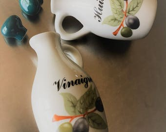 Elegant Set of Vintage Oil and Vinegar Bottles - French Huile Vinaigre - Vintage Porcelain Jars