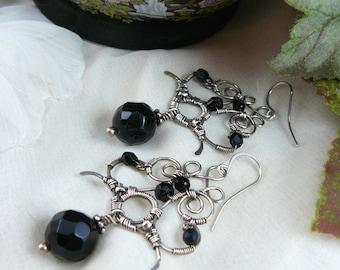 Onyx Chandelier Earrings ~ Opulent Sterling Silver Earrings ~ Opulent Onyx Earrings ~ Wire Wrapped Chandelier Earrings ~ Wire Wrapped Onyx