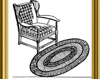 Knitted Oval Rug Vintage Ruth Wyeth Spears 1939 PDF pattern repurpose upcycle recycle
