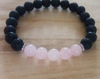 Rose Quartz and Lava Stone Diffuser Bracelet, Stretch Bracelet, Gemstone Bracelet, Aromatherapy Bracelet