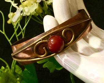 Jewelry sale Navajo copper cuff bracelet unique carnelian stone cabochon center stone
