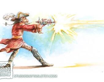 Baron with a Blaster - extraordinary adventures of Baron Munchausen watercolor illustration