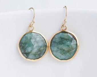 Raw Emerald Earrings - May Birthstone Earrings - Round Gemstone Earrings - Gold Earrings - Drop Earrings