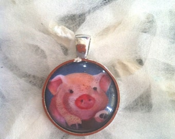 Cute Pink Pig Art Jewelry - Real Glass - 1 Inch Circle Bezel Pendant -  Piggy Fence - Cute Pink Pig - Cute Animal - Jewelry