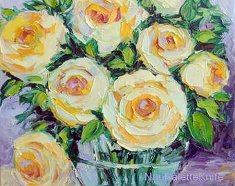 Yellow Rose Small Oil Painting Flower Floral Still Life Palette Knife Impasto Canvas Art for her for mom 8x8