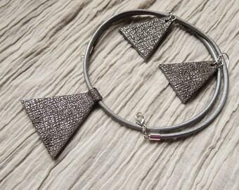 Silver Geometric Leather Set, Triangle Shape, Pendant Necklace, Leather Earrings