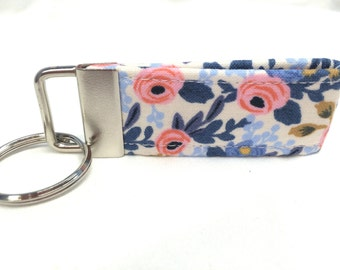 """Rifle Paper Co. 3"""" MINI Key Fob Les Fleurs Rosa Periwinkle Blue Fabric"""