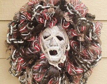 SCARY Halloween Mummy Wreath - READY to SHIP!!!