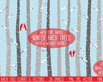 Winter Birch Tree Clipart Clip Art, Christmas Aspen Tree Clipart Clip Art Vectors - Commercial and Personal Use