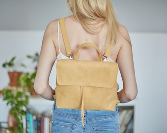 Vegan suede mini backpack / shoulder bag