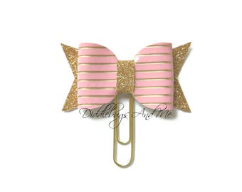 Pink And Gold Bow Planner Clips, Leather Bow Paper Clip, Gift For Mother, Accessory For Planner, Pink Leather Bow, Gold Bow Paper Clips