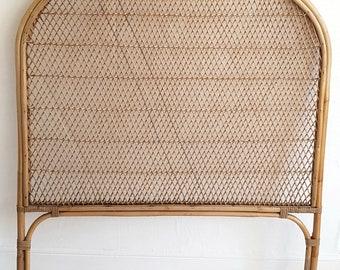 SOLD Midcentury bamboo & wicker headboard, vintage rattan headboard, single bed, Tiki, 70s style, Bohemian home, boho style.