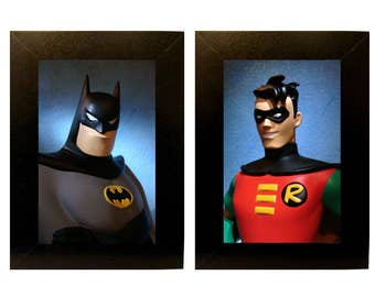 "Framed Batman & Robin Cartoon Toy Photographs 5"" x 7"""