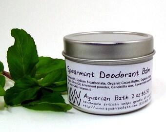 Spearmint Deodorant Balm - Natural Deodorant - Organic Deodorant - Featured in the book Plastic Free - Vegan 2 oz