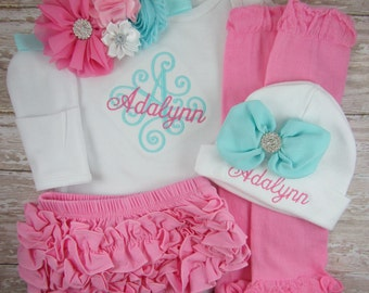 Baby girl coming home outfit, baby girl, outfit, set, newborn, baby girl clothes, hat, take home outfit, monogram, embroidered, aqua, Pink