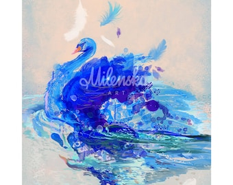 """Blue swan - Limited Edition of 45 copies digital print on fine art paper, swan modern painting in blue, grey, violet size: 50x70 cm (20x28"""")"""