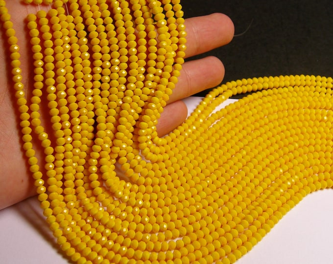 Crystal faceted rondelle - 150 pcs - 18 inch strand - 4 mm - A quality - light orange - FCRM16