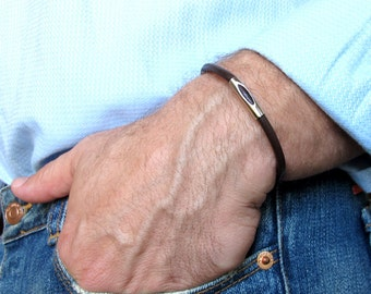 Leather Men's Bracelet with Magnetic Clasp / Brown Silver Bracelet / Gift for him / Silver Leather Bracelet / Mens Jewelry  Mens accessories