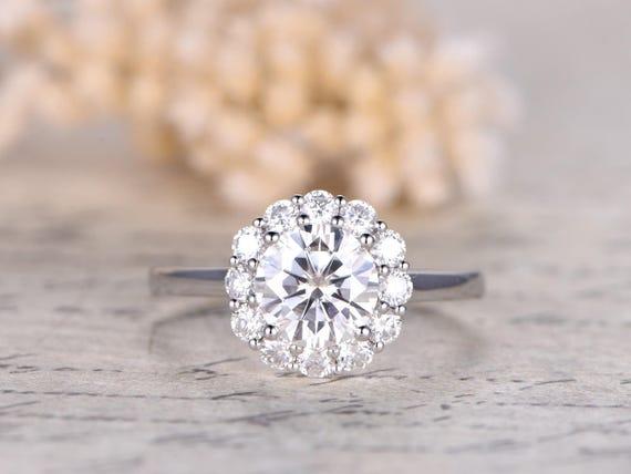 7mm Charles Amp Colvard Moissanite Engagement Ring Floral Halo
