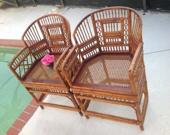 BAMBOO BRIGHTON STYLE Chairs / Pair of Bamboo Rattan Chippendale Style / Fretwork Chairs  / Chinoiserie Pavillion style at Retro Daisy Girl