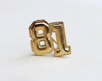 81 Year Pin, Year Pin, Number Pin, 81 Number Pin, Number, Year, Class Pin, 80s Pin, Gold Pin