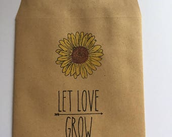 Handmade Let Love Grow Rustic Wedding Favour Seed Packets with Watercoloured Sunflowers Qtys 10 - 100