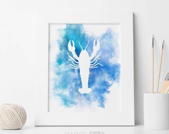 Lobster Print, printable art, wall art, lobster art, watercolor print, nautical decor, beach house print, printable art prints, ocean art