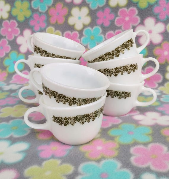 Set of 8 Vintage Pyrex Milk Glass Mugs in Spring Blossom