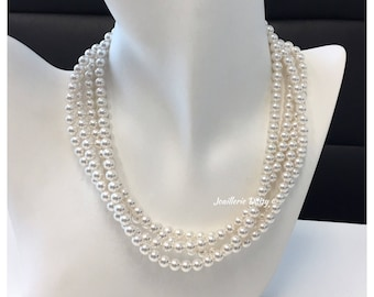 4 Strand Ivory Necklace Swarovski Pearl Necklace Muitl Strand Necklace Bridal Jewelry Gift Chunky Bridesmaid Necklace Statement Necklace